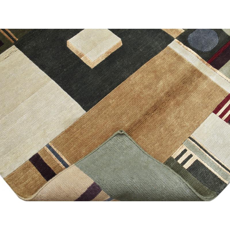 Geometric Modern Oriental Handmade Wool & Silk Rug - YourRugnRugs